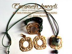 Parure etrusca oro quadro con pietre dure