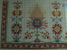 Φανταστικά και υπέροχα λουλούδια έχει αυτό το σχέδιο.  Το φωτογράφισα από ένα φύλλο της εταιρίας DMC.  Το σχέδιο αυτό κεντάται με κο... Cross Stitch Designs, Cross Stitch Patterns, Dmc Cross Stitch, Oriental, Chiffon, Folk, Projects To Try, Embroidery, Traditional