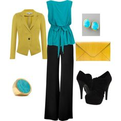 Turquoise & mustard- work appropriate
