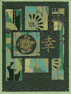 handmade card .. Stamp Art .. Asian ... greens gorgeous papers, embossing folder and stamping ...