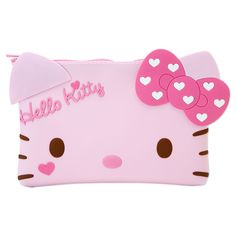 Hello Kitty Face Shaped Silicon Pouch Cosmetic Bag Pink SANRIO JAPAN