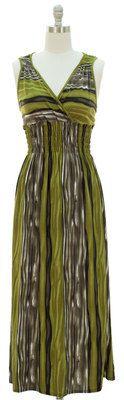 Olive Green Surplice Maxi Dress