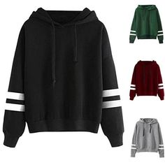 Fashion Autumn Winter Women Sweatshirt With Hat Drawstring Long Sleeve Striped Splicing Hoodies Ladies Girls Pullover FS - Hot Products Cool Outfits, Casual Outfits, Casual Shirts, Swagg, Long Sleeve Sweater, Hooded Sweatshirts, Autumn Fashion, Fashion Black, Fashion Edgy
