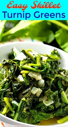Easy Skillet Turnip Greens with onion and garlic are delicious served with chicken or pork. They make a quick and easy vegetarian southern side dish. Turnip Recipes, Vegetable Recipes, Vegetarian Recipes, Cooking Recipes, Healthy Recipes, Rutabaga Recipes, Healthy Ramen, Vegetarian Dinners, Diet