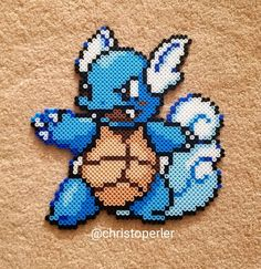 Couldn't find a nicely colored sprite for Wartortle so I did some custom colors and shading. Definitely digging this look. If you use this, please credit! Fuse Bead Patterns, Perler Patterns, Beading Patterns, Stitch Patterns, Pokemon Perler Beads, Pearler Beads, Fuse Beads, Pokemon Blastoise, Nerd Art