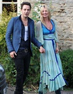 Kate Moss wearing a vintage Ossie Clark at the night before her wedding