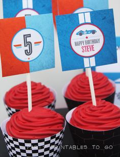 Race Car Cupcake wrappers & Toppers - Boys Parties