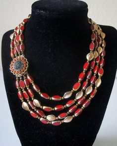 Vintage Signed ALICE CAVINESS Red Gold Trim Bead by GlimpseofArt