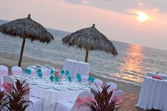 Sand, the ocean, dinner, drinks, AND sunset! Nothing could make your deck reception better. This location can accommodate up to 100 people. #SecretsVallartaBayPuertoVallarta #Mexico #DestinationWedding
