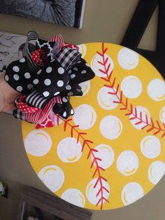 Items similar to Polka Dot Softball Door Hanger on Etsy Polka Dot Softball Door Hanger by TheeAlleyKat on Etsy Painted Doors, Wood Doors, Mesh Ribbon Wreaths, Pallet Barn, Frosted Glass Door, Burlap Door Hangers, Wood Cutouts, Wine Bottle Crafts, Kids Decor
