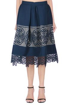 Madeline Navy Lace Insert Midi Skirt – Shop Lombard and Fifth