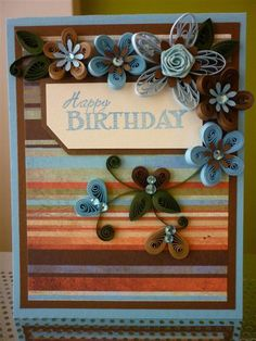 """Handmade Paper Quilling Blue Brown """"Happy Birthday"""" Greeting Card with Amazing Flowers(Friend, Birthday, Father) by FromQuillingWithLove"""