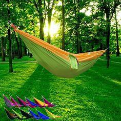 Freeshipping Portable Nylon Double Hamac Jardin Camping En Plein Air Voyage Meubles Swing de Couchage Lit Pour Une ou Deux Personne