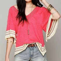 """FREE PEOPLE Blouse Petal Top Swing Flutter Sleeve Size XS/S. New with tags.  $168 Retail + Tax.   Cotton top with short butterfly sleeves.  Stripe hems. Crochet v neckline. By Eternal Sunshine Creations for Free People.   Measurements for XS/S: Length: 25"""" Bust: 37"""" Sleeve: 17""""   ❗️ Please - no trades, PP, holds, or Modeling.    Bundle 2+ items for a 20% discount!    Stop by my closet for even more items from this brand!  ✔️ Items are priced to sell, however reasonable offers will be…"""