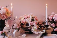 Black and white anemone, pink spray roses, seeded eucalyptus. flowers by Sullivan Owen