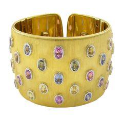 BUCCELLATI Multicolored Sapphire Gold Cuff Bracelet