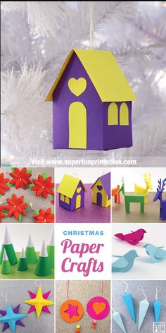 A printable collection of paper crafts to decorate for Christmas. Each craft has a template and step by step instructions to follow with photographs of each step. Make Christmas paper bows, paper icicles, reindeer, peace doves, stars, poinsettias and more! Decorate your entire tree with eco-friendly paper ornaments. This is fun for all ages from kid to adult. #Christmascrafts #papercrafts #kidscrafts #christmas #kidsactivities #printablecrafts #thecrafttrain #paper #superfunprintables