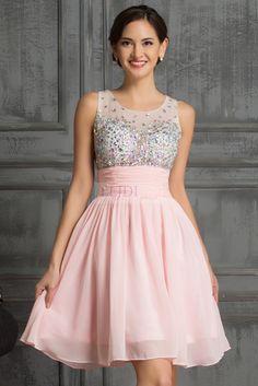 Sukienka z kryształkami, jasny róż