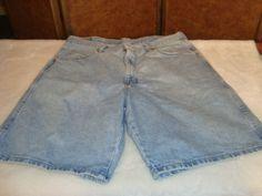 Wrangler Jeans Sz 36 Men's Blue Denim 100% Cotton Shorts 5 Pockets #Wrangler #Denim