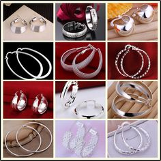 Factory price top quaility 925 stamped silver plated jewelry earring fine smooth circle hoop jewelry earring 12 styles - Designer jewelry Collection