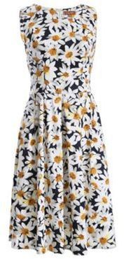 Jolie Moi Navy 1950s floral print prom dress