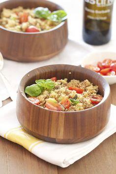 Quinoa Salad with Edamame, Basil & Pine Nuts with Balsamic Vinagrette   epicurean mom