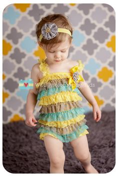 3 pc SET- Yellow & Grey Petti Romper- Ruffle Rompers - Baby Girl Rompers - Christmas Outfit- Baby Photo Prop - Baby Romper. $39.99, via Etsy.