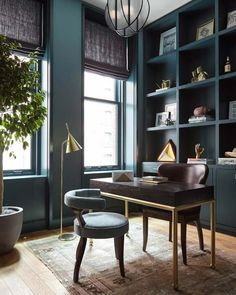 Home office library study architectural digest ideas Small Office Decor, Home Office Space, Home Office Furniture, Home Office Decor, Home Decor, Small Office Design, Furniture Design, Home Office Colors, Man Office