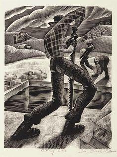 Lou Barlow (American, 1908-2011), Cutting Ice, 1935-43. Wood engraving. Thunderstruck