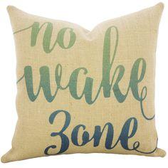 Nautical No Wake Zone Burlap Throw Pillow