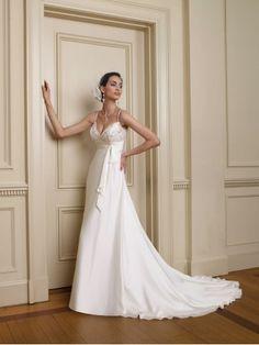 Satin Faced Chiffon V-Neckline A-line Wedding Dress