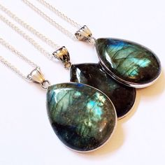 Frozen Fire - Labradorite Necklace – Druzy Dreams