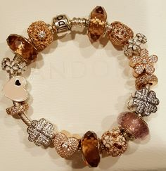 Pandora Silver And Gold Bracelet With White Faceted Murano