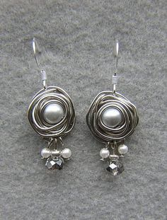 Beautiful Wire Wrap Set Glass Pearl Earrings and Necklace just so elegent on! silver plated metal and gray crystal accent beads