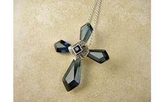 Okanjo • Lindenwold Sim Blue Sapphire Crystals Cross Necklace