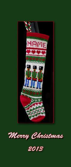 Pattern only Hand knit Christmas stocking    nutcracker by sby4718, $7.99