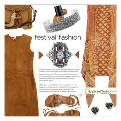 """""""Good Vibes Only: Festival Fashion"""" by applesofgoldjewelry ❤ liked on Polyvore featuring Raj Imports, Laurence Doligé, Chloé, L.A. Girl, Stuart Weitzman, Apples of Gold and vintage"""