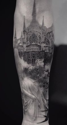 35 of the Best Architecture Tattoos or How To Have Your World on a Sleeve - awesome architecture inspired tattoo © tattoo studio Cold Gray Tattoo 💕💕💕💕 - Badass Tattoos, Leg Tattoos, Body Art Tattoos, Sleeve Tattoos, Tattoos For Guys, Architecture Tattoo, Amazing Architecture, Cathedral Tattoo, Cathedral Mirror