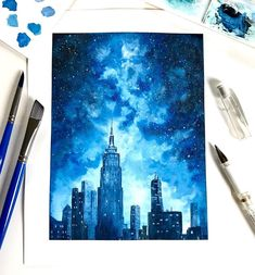 Watercolor New York City Painting, FINE ART PRINT, Skyline, Galaxy Painting Size: 8 X 10 -High quality Ink Print of handmade artwork -Printed on natural white paper -Material: watercolor pap. City Painting, Galaxy Painting, Galaxy Art, Painting & Drawing, Watercolor Paintings, Skyline Painting, Watercolor Paper, New York Painting, Watercolor Galaxy