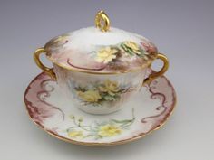 Antique Limoges Haviland CFH GDM Covered Bouillon Cup and Saucer #10 #CFHGDM