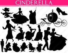 Your place to buy and sell all things handmade Disney Silhouette Art, Cinderella Silhouette, Princess Silhouette, Silhouette Vector, Machine Silhouette Portrait, Cinderella Party, Cinderella Slipper, Disney Themed Nursery, 3d Templates