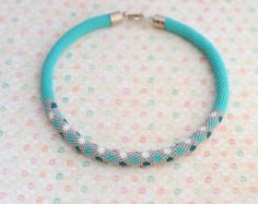 """Bead crochet necklace """"Confetti"""" turquoise necklace gray necklace kawaii jewelry"""