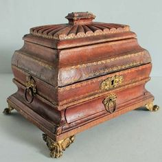 Regency Moroccan Leather Sarcophagus Box - Decorative Collective