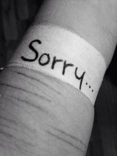 Sorry... Depression, self harm, bleeding, bandage, wound, scar ...