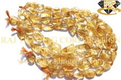 Citrine Smooth Nuggets (Quality C) Shape: Nuggets Smooth Length: 36 cm Weight Approx: 68 to 70 Grms. Size Approx: 16 to 25 mm Price $13.70 Each Strand