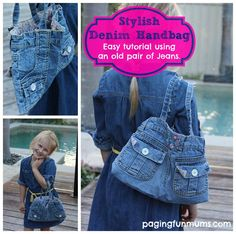 How to Make a Handbag Using a Pair of Jeans  :http://pagingfunmums.com/2014/03/14/how-to-make-a-handbag-using-a-pair-of-jeans/