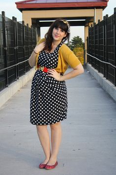 Polka dot dress with mustard cardigan and red belt/shoes - never thought about red shoes with mustard