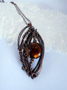 sold! Wire Wrapped Pendant  Glass & Copper Necklace by PerfectlyTwisted