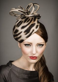 This Animal Fur Felt Heart Shaped Rachel Trevor-Morgan Milliner of London Headpiece is Available For This Season, Wonderful For Day Wear, Style # R13W12.