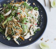 Coconut-poached Thai chicken noodle salad This recipe is from my fourth cookbook, Scrumptious. It's a really lovely fresh, tasty, healthy salad. Poaching the chicken in the coconut milk and aromatics first really does add to the flavour, and it's worth the little extra time rather than just using a cooked chook. You can poach it well in advance and have the chicken sitting in the milk mixture in the fridge until you need it. The dressing can be made ahead, too. Prep time – 30 minutes (or…